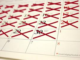 Red X Calendar